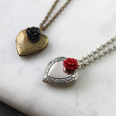 Antique silver and antique gold vintage heart locket necklaces
