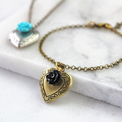 Antique gold vintage heart locket bracelet with black rose