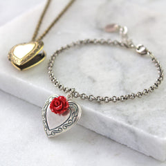 Antique silver vintage heart locket bracelet with red rose
