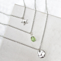 Close up of personalised Layered Birthstone Necklace sterling silver
