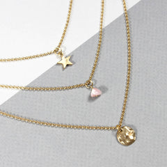 24ct Gold plated Birthstone Layered Charm Necklace