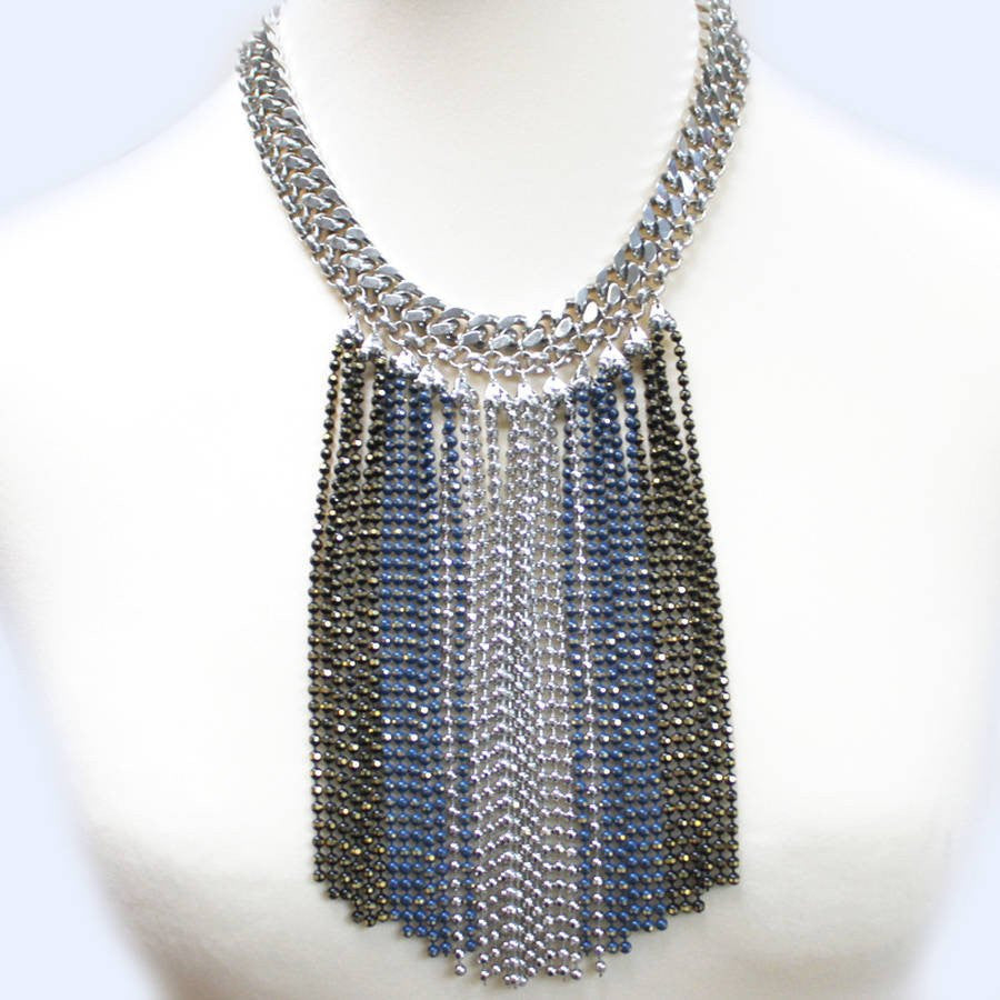Blue Statement Chain Fringe Necklace