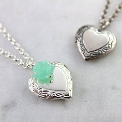 Silver and antique silver vintage heart locket necklaces