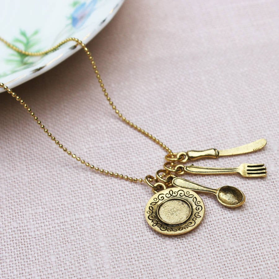 2ct god plated Cutlery Charm Necklace