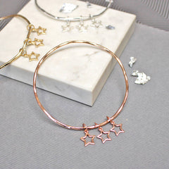 Delicate Star Bangle, Rose Gold