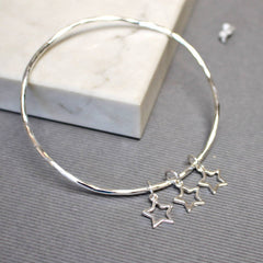 Delicate Star Bangle, silver