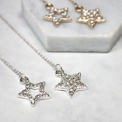 Diamante Star Thread Through Earrings silver and gold