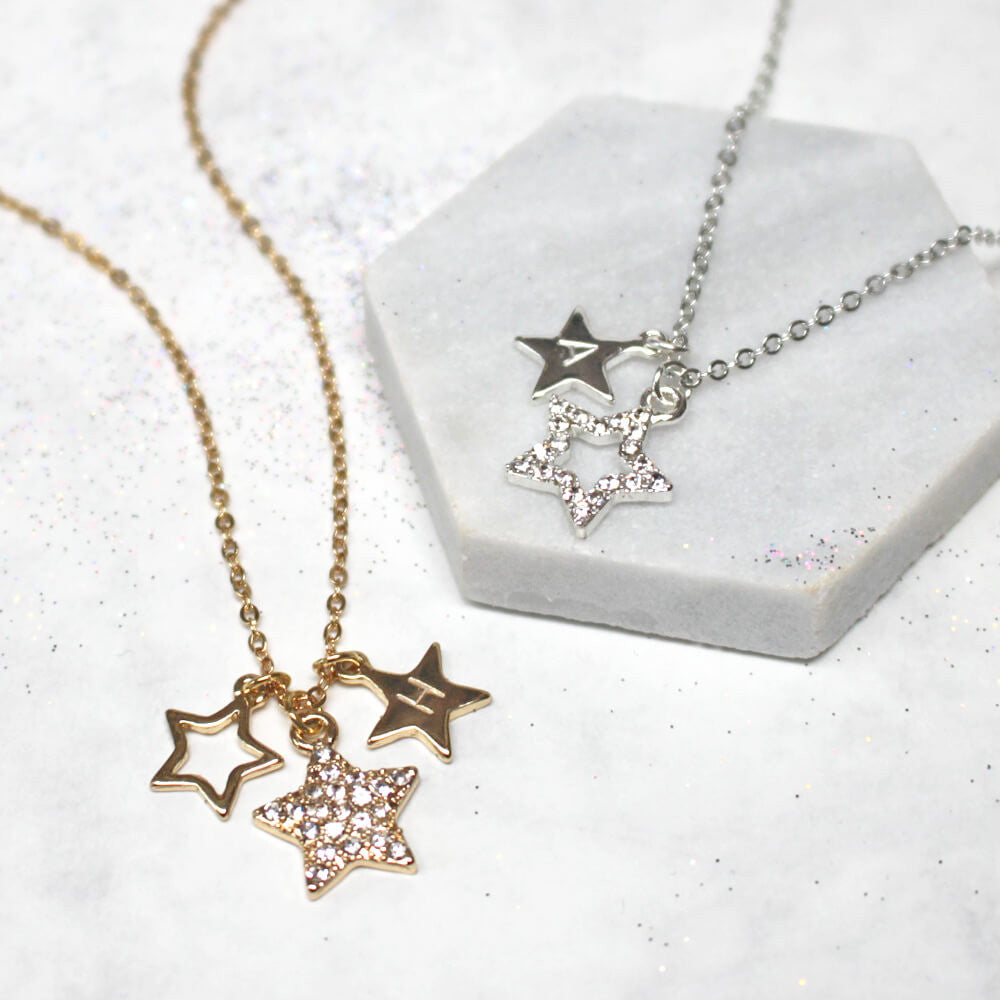 Close up of Personalised Diamante Star Necklace
