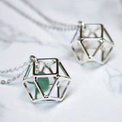 Close up of Geometric Birthstone Necklace