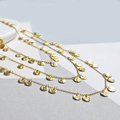 Full set of chains of gold necklaces shown in gold