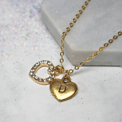 Close up of Personalised Diamante Heart Necklace gold