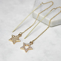 Diamante Star Thread Through Earrings gold