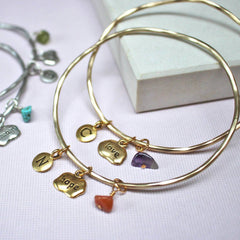 Gold love and hope birthstone mantra bangles with amethyst and carnelian
