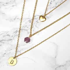 Personalised Layered Birthstone Necklace 24ct gold