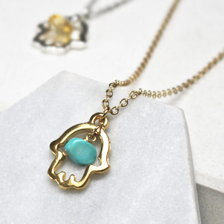 Lucky Hamsa Birthstone Charm Necklace