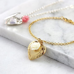Gold vintage heart locket bracelet with cream rose