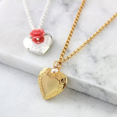 Gold and silver vintage heart locket necklaces