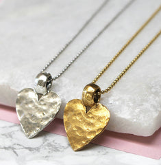 Hammered Gold And Silver Heart Pendant