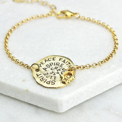 Gold mantra bracelet with lucky hamsa hand charm