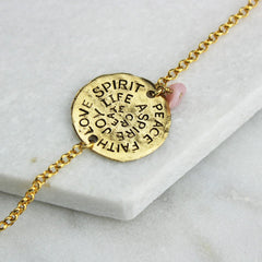 Gold mantra bracelet with pink opal birthstone