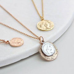 Personalised coin necklace, rose gold with silver coin on top