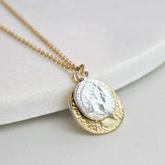 Personalised coin necklace, gold with silver coin on top