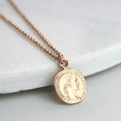 Personalised coin necklace, rose gold