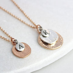 Personalised coin necklace, rose gold and silver with initial charms