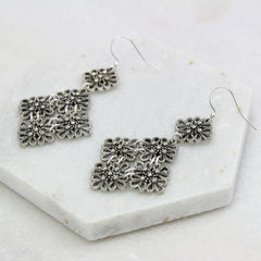 Vintage Lace Drop Earrings, silver