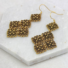 Vintage Lace Drop Earrings, gold