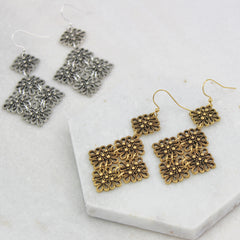 Vintage Lace Drop Earrings, gold and silver