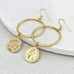 Coin Drop Hoop Earrings, gold