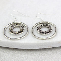 Vintage Hoop Circle Earrings, silver