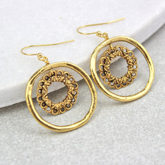 Vintage Hoop Circle Earrings, gold