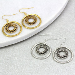 Vintage Hoop Circle Earrings, gold and silver