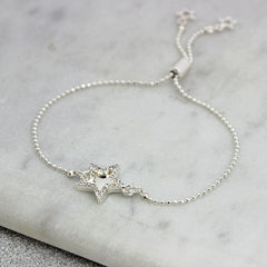 silver double star diamante bracelet