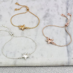 silver rose gold and gold star diamante bracelet