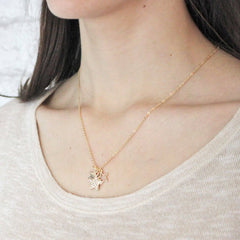 Personalised Diamante Star Necklace worn by model