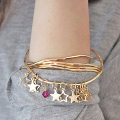 Gold star bangle set with pink swarovski crystal