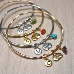 Wish, hope, dream and love birthstone mantra bangles in gold and silver