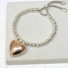 Sterling silver plated Large Hammered 24ct gold plated Heart Friendship Bracelet
