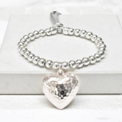 Large Hammered Heart Friendship Bracelet