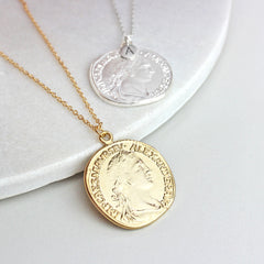 Personalised Coin Necklace, gold and silver
