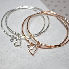 Close up of Love Heart stacking Bangles