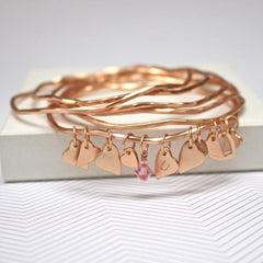 Personalised rose gold bangle set with heart charms