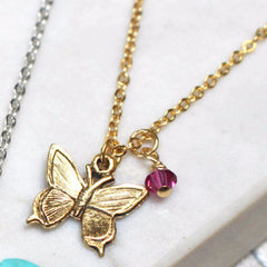 Mini Butterfly Charm Necklace with personalisations