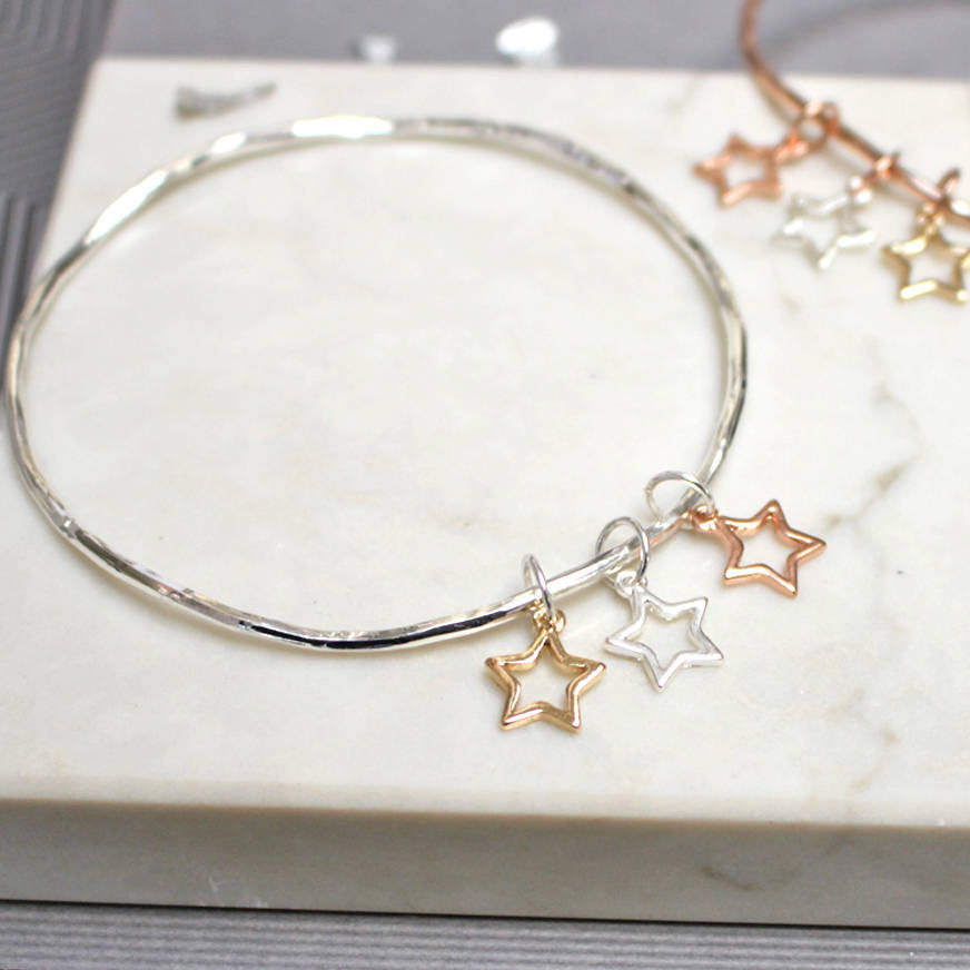 Mixed Metal Star Bangle, Silver