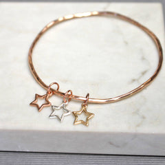 Mixed Metal Star Bangle, Rose Gold