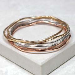 Gold, silver and rose gold bangle set perfect for stacking