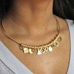 24ct gold plated Multi Shape Charm Choker Necklace